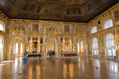 Catherine Palace, near St Petersburg. Walls in gold leaf.