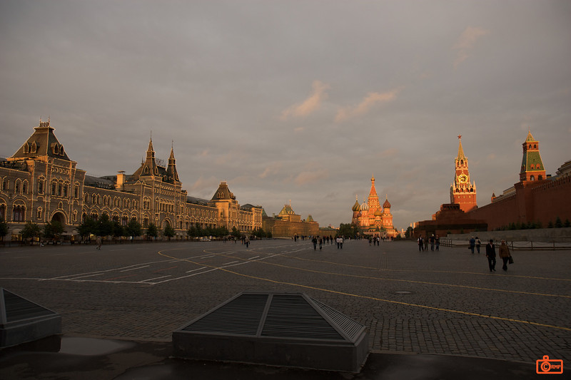 Red Square at sunset. The GUM department store on the left is lit in the evening with thousands of small lights.<br /> IMG_5905