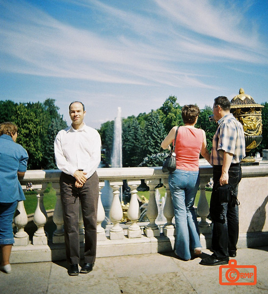 Peterhof - Richard at fountain.<br /> F1000030