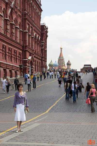 Looking into Red Square. The State History Museum is on the left, St Basil's in the background.<br /> IMG_5846