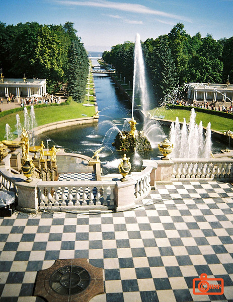 View from Peterhof. The view over the fountains and down the canal from the balcony of Peterhof.<br /> F1000020