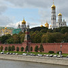 Kremlin walls and towers rise above the Moscow River.<br /> L-R: Grand Kremlin Palace, Golden domes of Cathedral of the Annunciation,<br /> Cathedral of St Michael the Archangel, Domes of Cathedral of the Dormition,<br /> and on right, the Bell Tower of Ivan the Great.