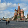 Tourists approaching St. Basil's Cathedral late on September 22, 2011.
