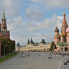 View of Red Square from bridge over the Moscow River: <br /> Kremlin wall and towers (begun 1485) on the left, GUM shopping mall in the center, <br /> St. Basil's Cathedral on the right. <br /> September 22, 2011.