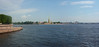 Panorama over the Neva toward the east with the Peter Paul Fortress and the Trotsky Bridge. Note the new name of the bridge.  Trotsky was a villain for Stalin who exiled him  and later assassinated him in Mexico.