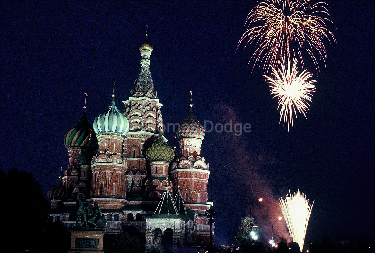 May Day fireworks over St. Basil's Cathedral.