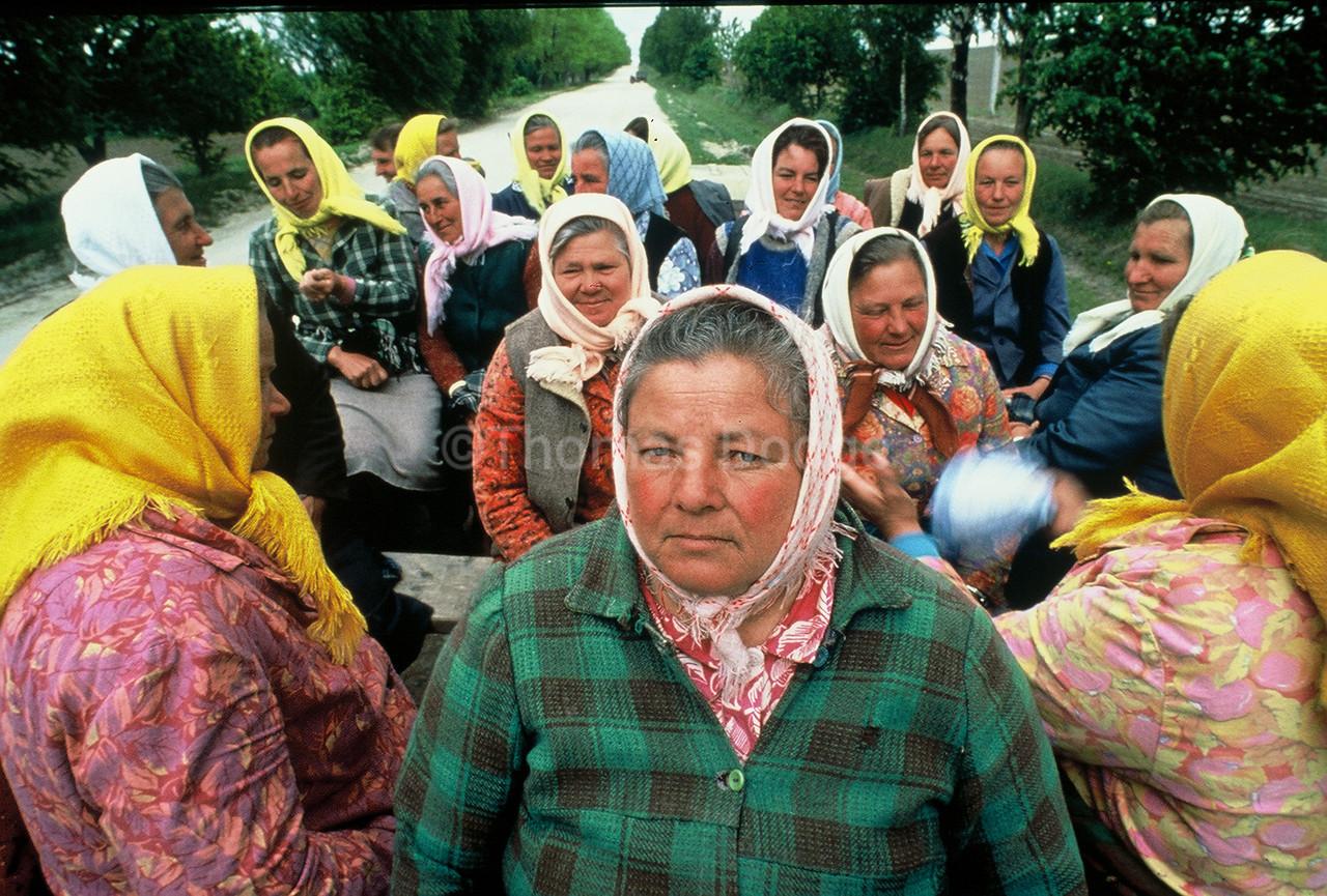 Ukrainian State Farm Field workers take lunch break.