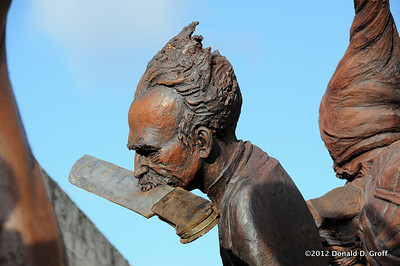 An outsized artwork erected inside the fortress walls included several figures, including Jose Marti with a symbolic machete clinched between his teeth.