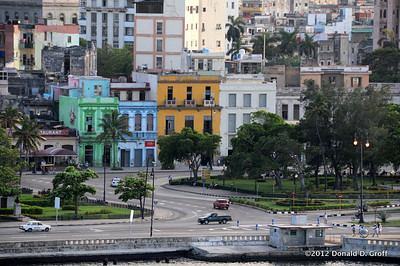 The waterfront edge of Old Havana, as seen from the fortress.