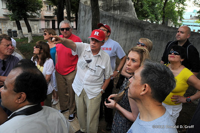 the esteemed Mario Coyula on first full day of touring, explaining historically themed artwork in a Havana park.