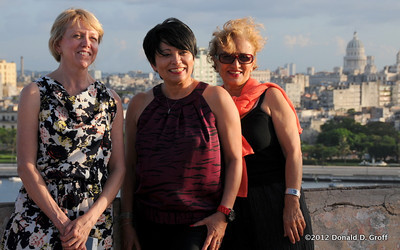 from left: Dean Kriste Lindenmeyer, Dr. Gloria Bonilla, Mayra Alonso of Marazul Charters, at El Morro.