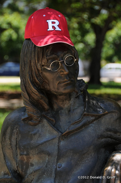 Lennon, with head sporting Rutgers red.