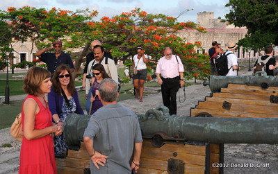 Cannon-lined path along fortress wall made taking photos irresistible. The group complied.
