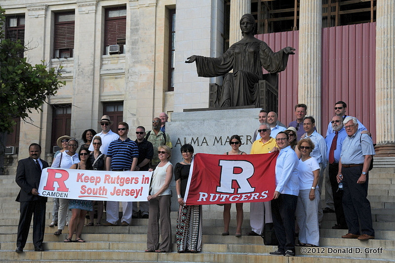 Rutgers-Camden takes its banners to the steps of the University of Havana.  This was mid-June; on July 1 the N.J. legislature approved a higher-education plan that favored R-C.
