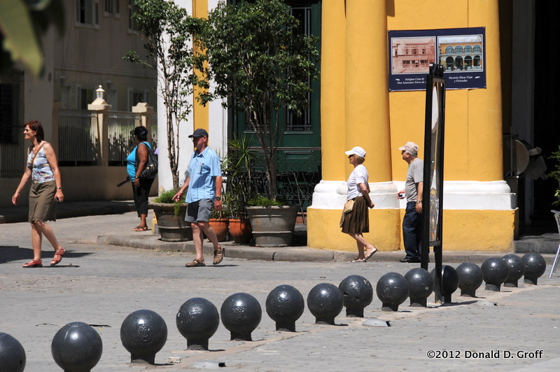 Cannonballs are decorative objects in some Havana tourist areas.