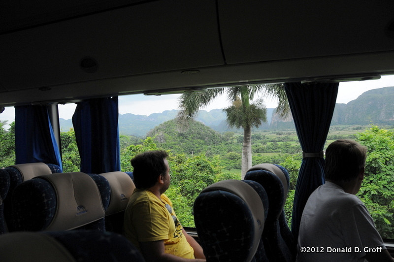 Day 5: Our tour bus winds its way into the Vinales Valley, a UNESCO world heritage site noted for its natural features.