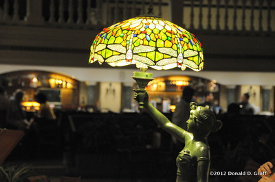 Tiffany lamp in lobby of Hotel Parque Central, Havana.