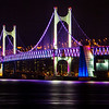Night view of Gwangan Bridge, Busan, S. Korea, as seen from the site of the Invictus Dinner Celebration.