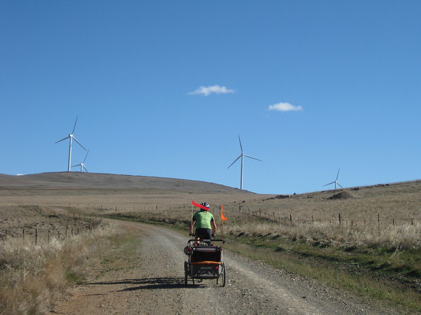 dyon climbing towards wind generators on the north mount lofty ranges