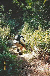 10/18/97 Gilbert on the Ben Overturff Trail, Monrovia Canyon Park to Sawpit Canyon. San Gabriel Mountains, Los Angeles County, CA