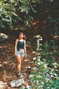 10/18/97 Arleen on the Ben Overturff Trail, Monrovia Canyon Park to Sawpit Canyon. San Gabriel Mountains, Los Angeles County, CA