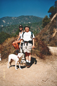 10/18/97 Elaine, Gilbert & Rusty. Ben Overturff Trail, Monrovia Canyon Park to Sawpit Canyon. San Gabriel Mountains, Los Angeles County, CA