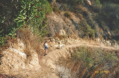 10/18/97 Elaine on the Ben Overturff Trail, Monrovia Canyon Park to Sawpit Canyon. San Gabriel Mountains, Los Angeles County, CA