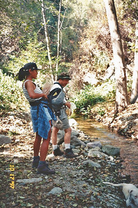 10/18/97 EE & Gilbert on the Ben Overturff Trail, Monrovia Canyon Park to Sawpit Canyon. San Gabriel Mountains, Los Angeles County, CA