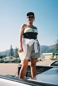 4/30/00 Parking lot at REI in Arcadia (stocking up before hiking trip to Lower Arroyo Seco)