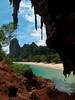 view out of phra nang cave onto phra nang beach