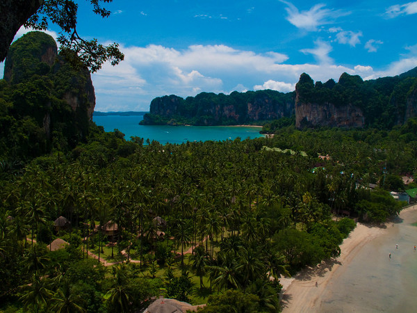 view from the top of Muay Thai wall Railay. The limestone is great but probably some of the sweatiest climbing I've ever done...36C + humid =lots of chalk.