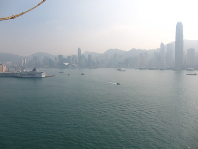 looking southeast across the harbour towards Hong Kong