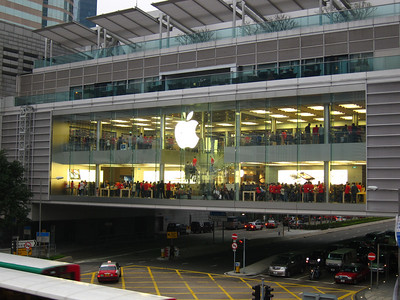 The busiest Apple store I've ever seen. It was so packed that many people stopped to take a photo of it.