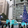 Statue Square is filled with giant Christmas Trees