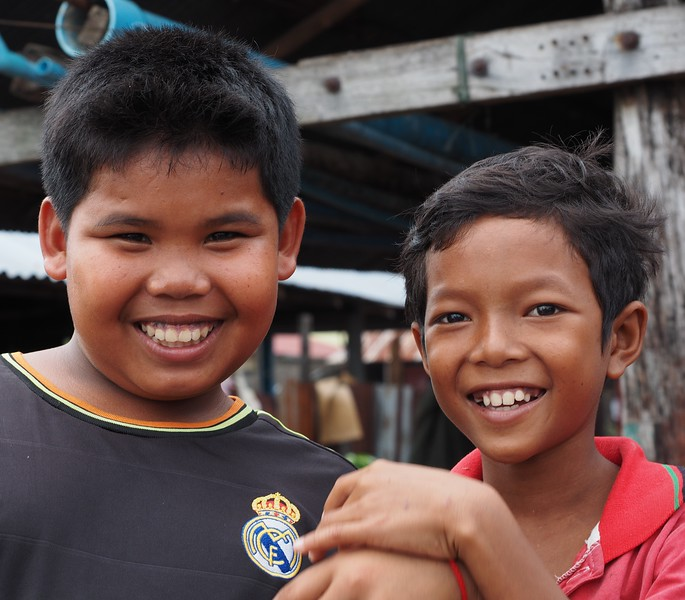 Happy boys at Ropang Ropov fishing village, Cambodia