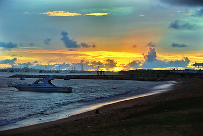 Sanur beach at sunset.