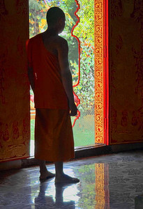 Buddhist Monk Inside of Temple, Chiang Mai