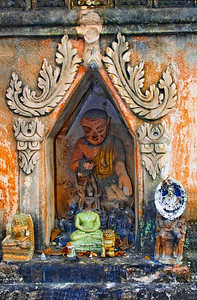 Broken Buddhist Images Placed in Good Keeping at Shrine within a Wat, Chiang Mai