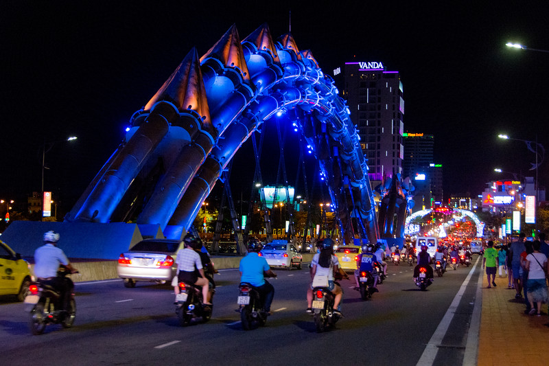 The dragon bridge in Da Nang, Vietnam, with lights that change its color--blue. May 2015. [Da Nang 2015-05 034 Vietnam]
