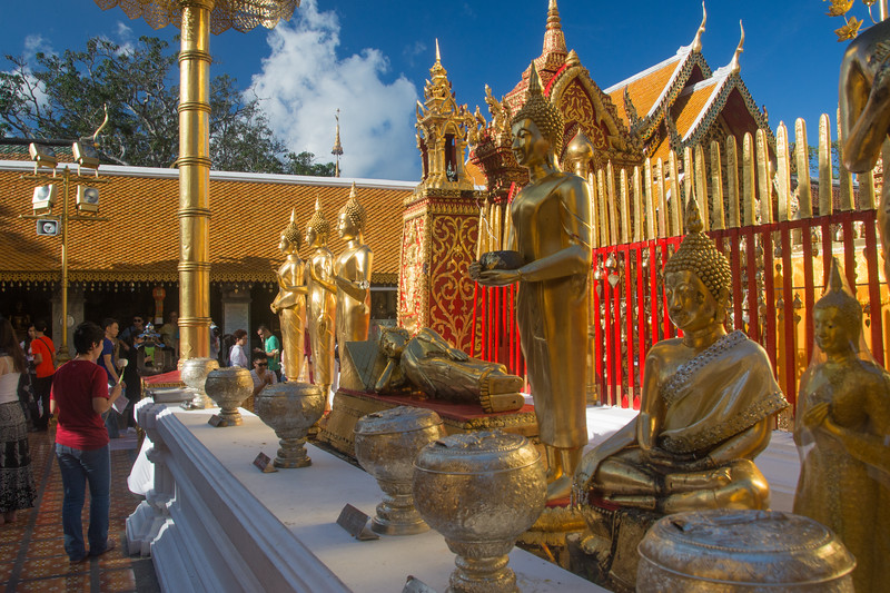 Buddhist statues at Doi Suthep temple, Chiang Mai, Thailand, November 2914. [Doi Suthep 2014-11 001 ChiangMai-Thailand]
