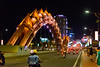 The dragon bridge in Da Nang, Vietnam, with lights that change its color--orange. May 2015. [Da Nang 2015-05 033 Vietnam]