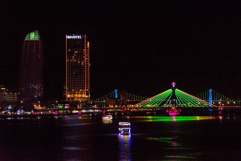 The riverfront and lighted bridges at Da Nang, Vietnam, May 2015. [Da Nang 2015-05 019 Vietnam]