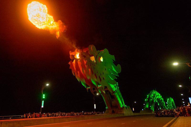 Every Saturday night the dragon bridge spits fire, in Da Nang, Vietnam, May 2015. [Da Nang 2015-05 026 Vietnam]