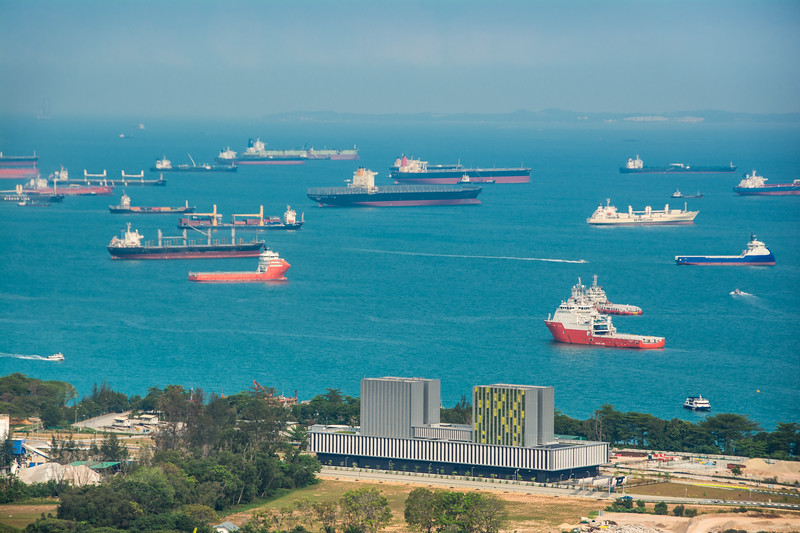 Busy shipping port near Marine Bay, Singapore, 2014-03.