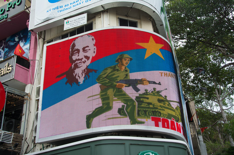 Signs of celebrating a 40 year victory, Ho Chi Minh City (Saigon), Vietnam, May 2015. [Ho Chi Minh City 2015-05 016 Vietnam]
