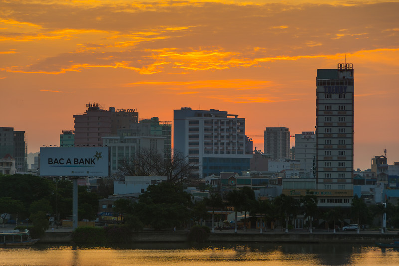 Early morning cityscape sunrise across the river in Da Nang, Vietnam, May 2015. [Da Nang 2015-05 ]
