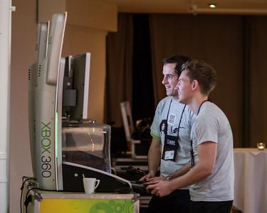 Jamie enjoys Xbox with a coworker