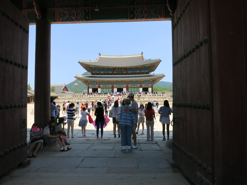 Still going north, through Geunjeongmun (third) gate to Geunjeongjeon, main throne hall of Gyeongbok Palace