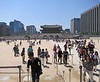 Looking back from Heungyemun (second) gate to Gwanghwamun, the main entry gate