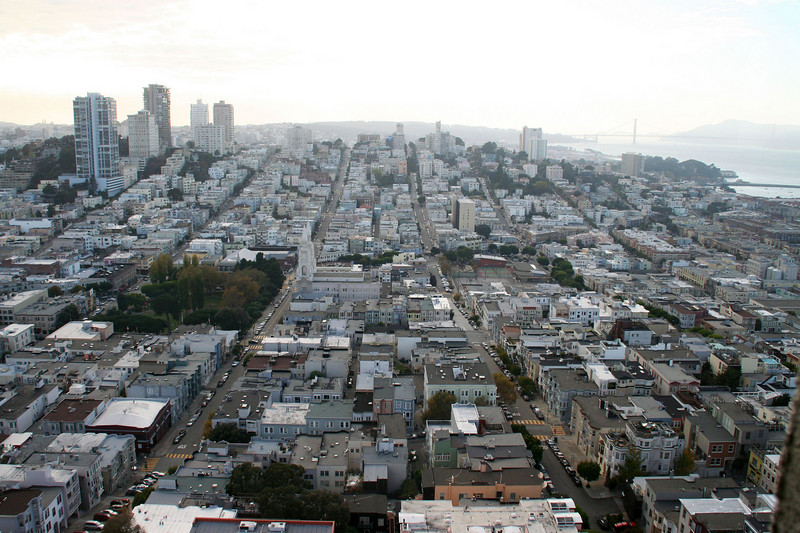 Looking towards Russian Hill from the Coit Tower.  Golden Gate beyond.